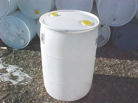 gallon barrel drum plastic fuel watering rain white