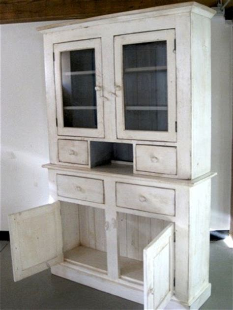 kitchen cabinets base white custom country hutch with 2 glass doors farmhouse 2887