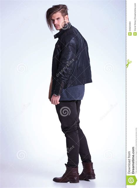 view   young fashion man  leather jacket stock