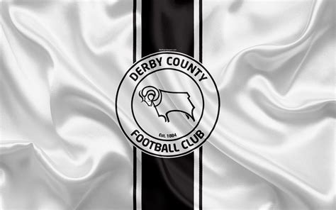 Download wallpapers Derby County FC, white silk flag ...