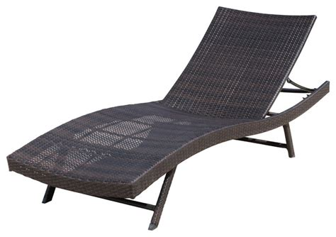 eliana outdoor brown wicker chaise lounge chair single contemporary sun loungers by gdfstudio