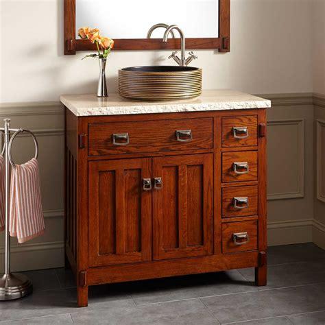 Bathroom Vanity Oak by 36 Quot Harington Oak Vessel Sink Vanity Bathroom Vanities
