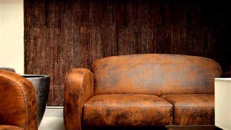 Canapé Vintage Marron - ensemble fauteuil et canapé imitation cuir vieilli