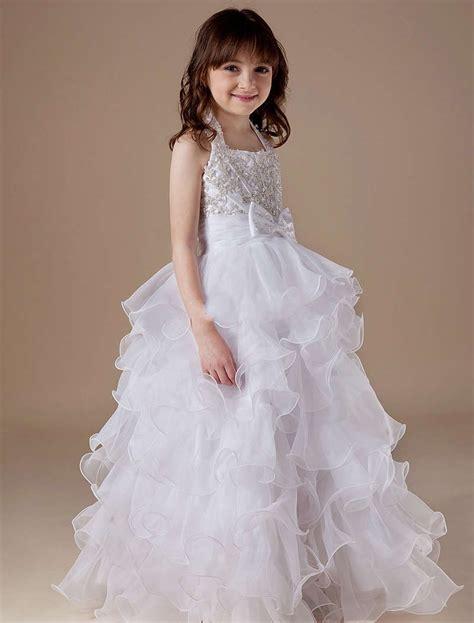 organza tiered halter beading wedding dress  kids