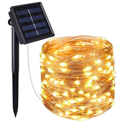 solar bulb string lights amir solar powered string lights 100 led copper wire