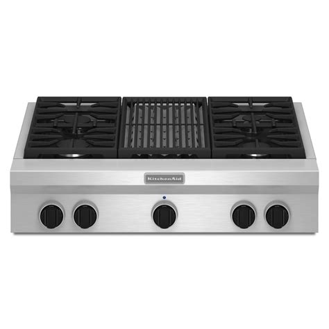 gas cooktop stove shop kitchenaid gas cooktop stainless steel common 36