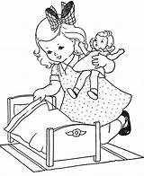 Coloring Pages Doll sketch template