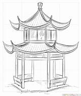 Chinese Pagoda Drawings Draw Coloring Sketchite Drawing Sketch Step Tutorials Credit Larger sketch template