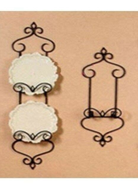 wrought iron french wall plate holder rack display cm antique brass color ebay