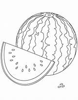 Watermelon Coloring Pages Watery Fruit sketch template