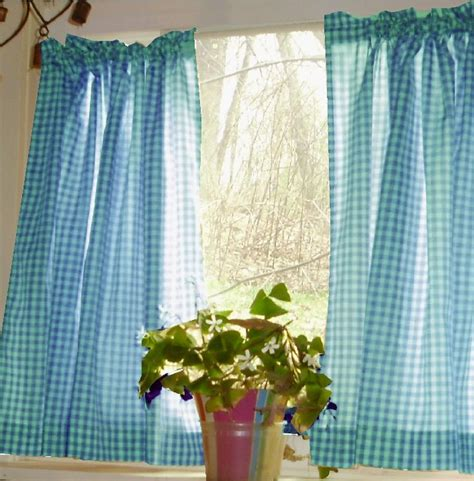 turquoise gingham kitchencafe curtain unlined
