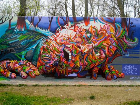 graffiti mural artists shaka marchal mithouard psychedelic graffiti artist