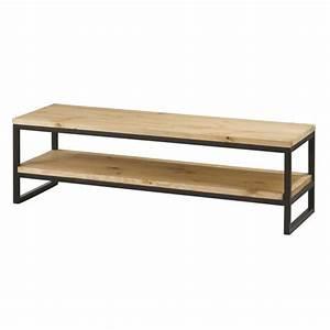 Meuble Tv Metal Bois : meuble tv contemporain en bois pin massif cir bross et m tal l 130 cm achat vente meuble ~ Teatrodelosmanantiales.com Idées de Décoration