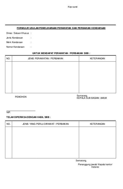 Contoh Buat Surat Perintah Kerja Instalasi Cctv by Contoh Form Perawatan Kendaraan Docx
