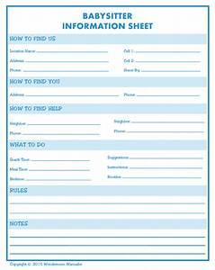 Babysitter Information Printable