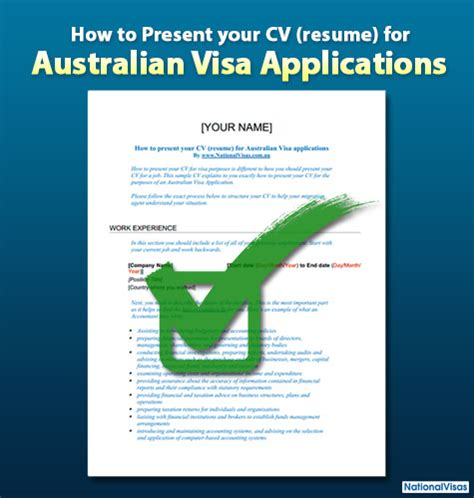 how to present your resume for australian visa