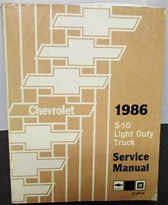 Chevy 1986 S10 Service Manual