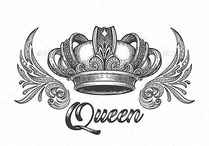 Crown Queen Tattoo Drawing King Tattoos Graphicriver
