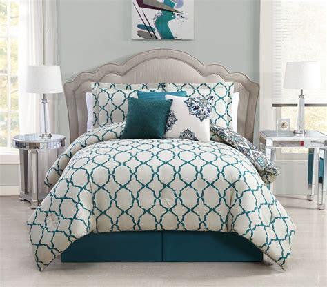 7 piece queen vidara teal gray reversible comforter set