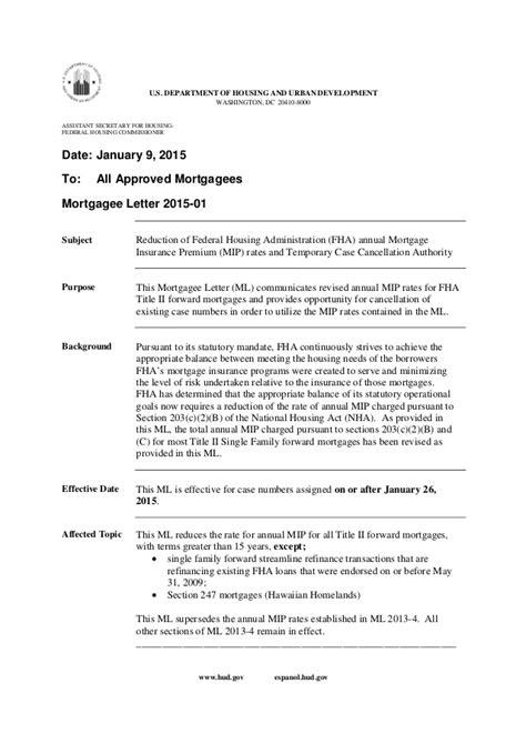 .85% mortgage insurance fha drop january 2015 obama