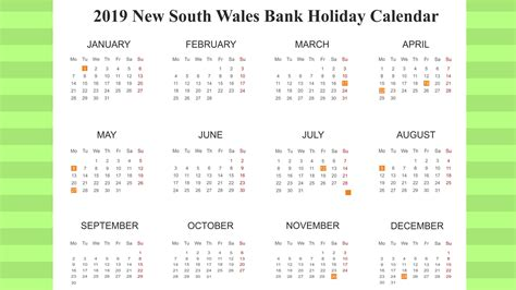 printable bank holiday nsw templates calendar