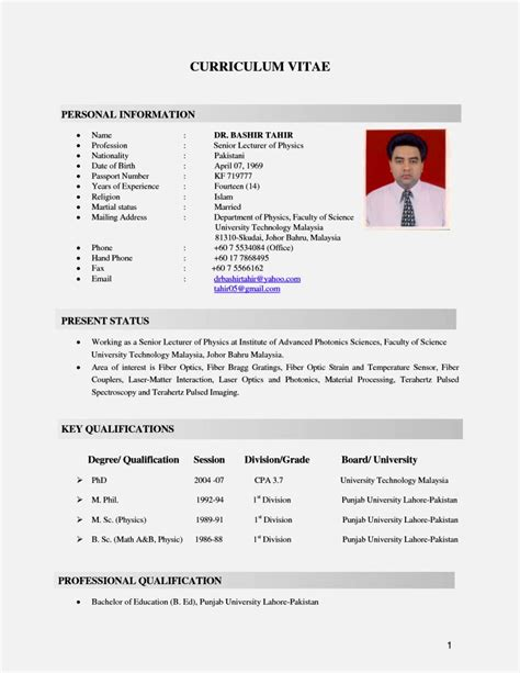 cv resume sle malaysia resume template cover letter