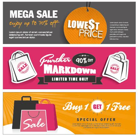 flat styles sale banners vector set 01 vector banner free download