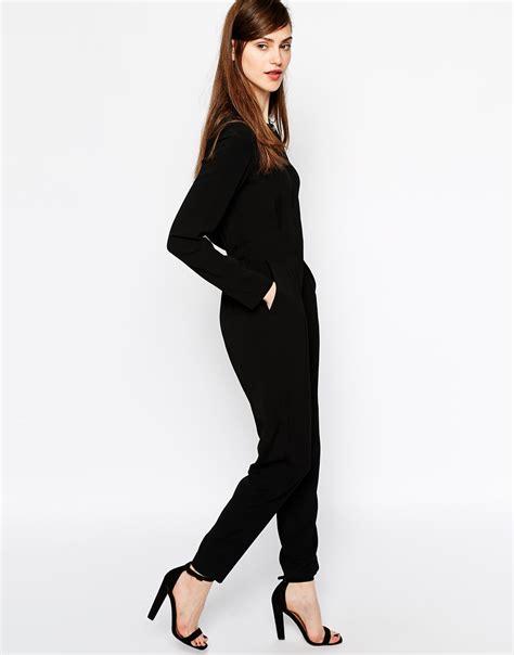 connection jumpsuit connection jumpsuit in emeline crepe in black lyst