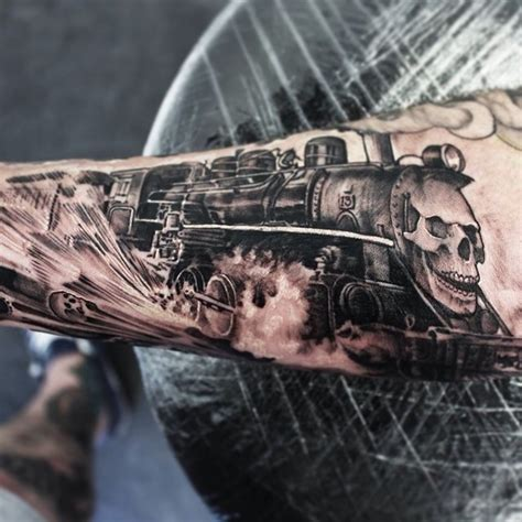 unique train tattoos