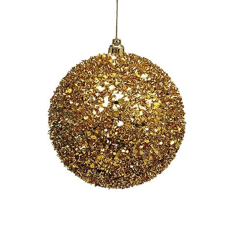 pack 4 large gold glitter ball baubles 100mm christmas