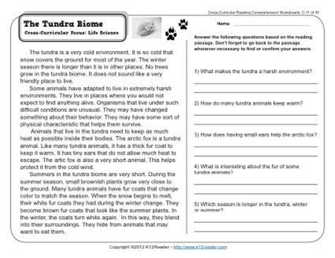 biome worksheets for 3rd grade the tundra biome 3rd grade reading comprehension worksheet