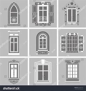 Set Vintage Windows Isolated On Gray Stock Vector ...