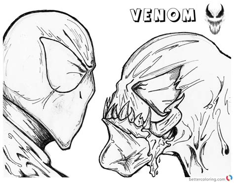 venom coloring pages spider man  venom uncolored