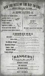 grill menu retro flyer design template vintage poster With irish menu templates