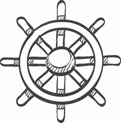 Wheel Steering Ship Drawing Sketch Icon Getdrawings