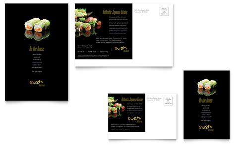 sushi restaurant postcard template word publisher