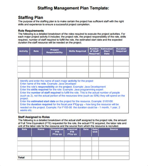 staffing plan template 7 staffing model sles sle templates