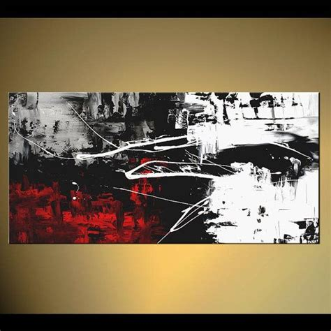 Abstract On Black Canvas by Modern 48 Quot X 24 Quot Abstract Painting Black White Acrylic