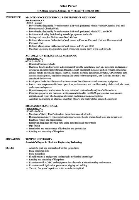 Resume Tools by Mechanic Electrical Resume Sles Velvet