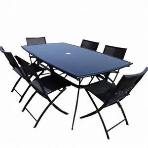 Chaise Salon De Jardin : salon de jardin table aluminium 6 chaises noir achat vente salon de jardin salon de ~ Teatrodelosmanantiales.com Idées de Décoration