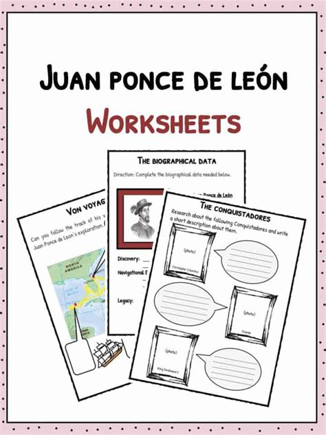 juan ponce de leon facts information worksheets  kids
