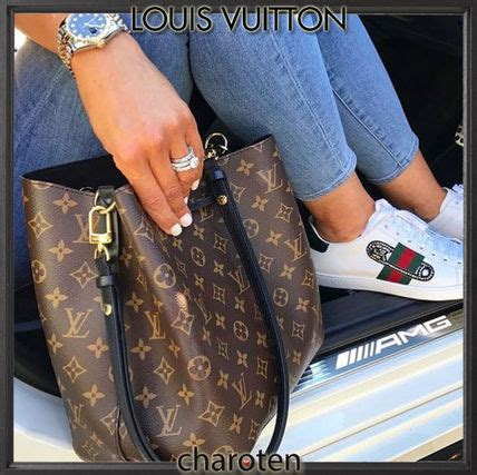 shop louis vuitton neonoe  ss monogram calfskin tassel  bi color purses elegant style