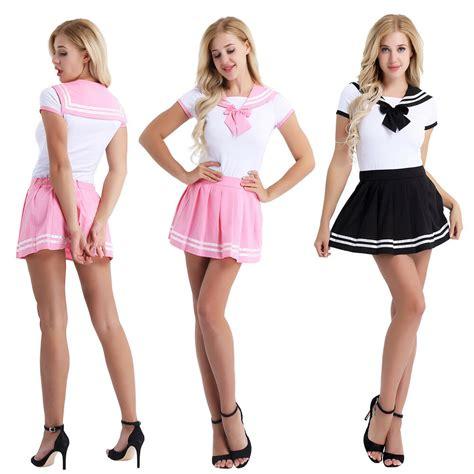 Sexy Naughty Women S School Girl Uniform Skirt Set Costume Club Wear Nightwear Ebay