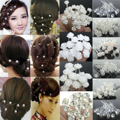 40PCS Wholesale Wedding Bridal Pearl Flower Crystal Hair
