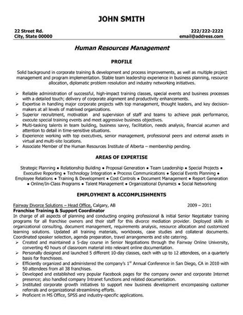 a resume template for a franchise and support