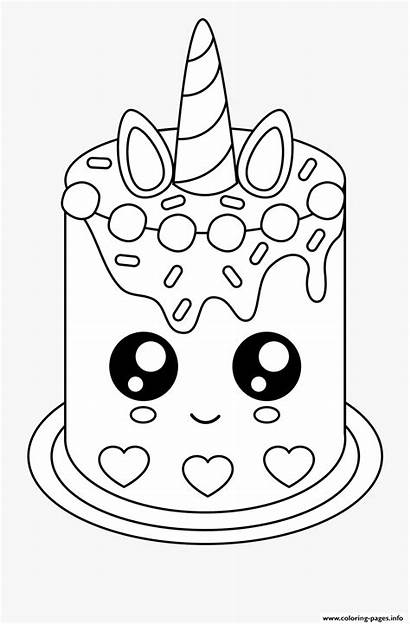 Coloring Unicorn Cake Pages Easy Printable Unicat