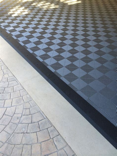 Garage Tile Flooring & Black Diamond Plate Transition Stri