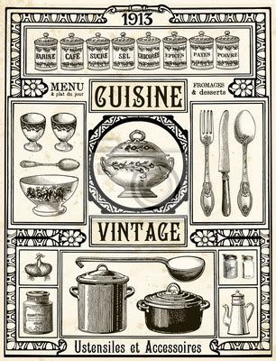 ustensile de cuisine vintage quadro cozinha vintage posters e quadros em tela br