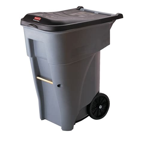 trash cans for kitchen shop rubbermaid commercial products brute rollout 65