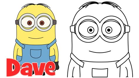 How To Draw Minions Dave Step By Step Easy Drawing For